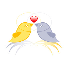 Pair of birds in love