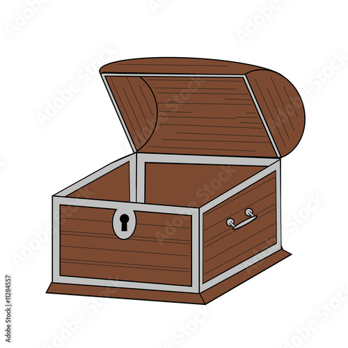 Empty Open Chest - Isolated On White