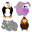 Cartoon Animal Set Of 4 Page - Isolated On White