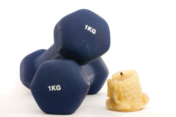 Dumbbells and candle