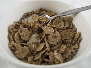 Bowl of Credit Crunch Breakfast Cereal