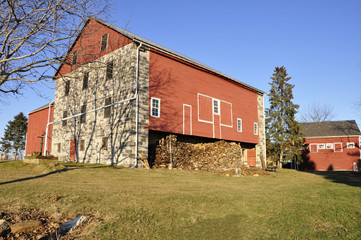 red and stone barn