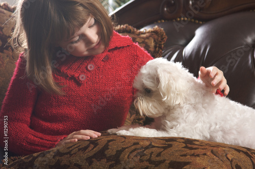 Young Girl with Her Maltese Puppy