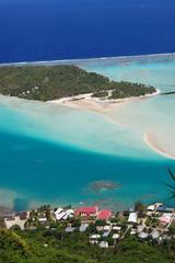 Ariel view Maupiti Lagoon, French Polynesia