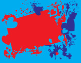 Hearts from blots on a blue background poster
