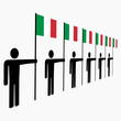 line of men with Italian flags