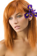 red hair purple flower