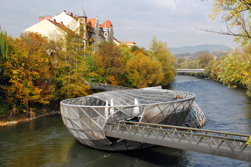 Panoramic view of The island in the Mur - Graz Austria