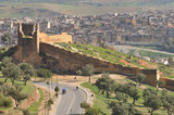 Aerial view of the old city wall of Fes, Morocco poster