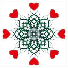 Valentine vignette. Red hearts and green leaves.