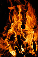 Close-up of fire on a black