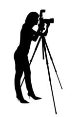 silhouette fotografin mit kamera und stativ clipping path