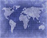 World atlas in blueprint style poster