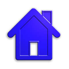 plastic house icon. clipping path.