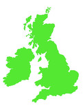 Outline map of United Kingdom in green poster