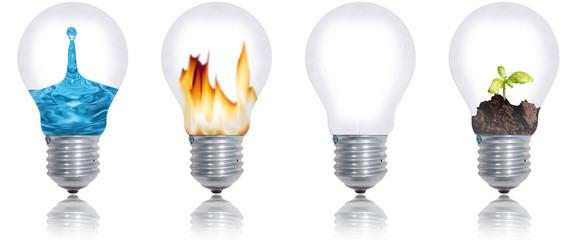 les quatres éléments: eau, feu, terre, air