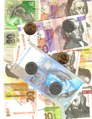 slovenia and slovakia;  banknotes and coin background