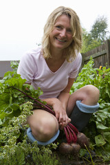 Woman harvesting fresh beets from garden