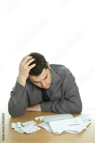 Suicidal man at desk