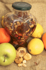honey with fruits