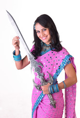 Asian model holding sword with smiling face