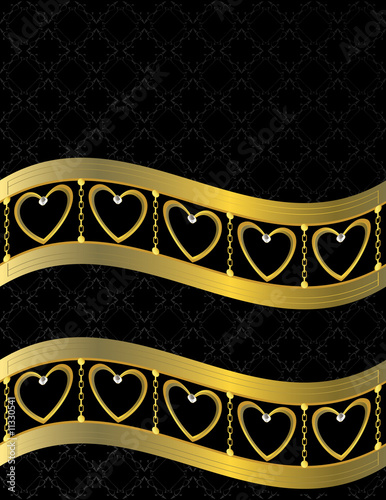 Gold heart patterned background 11