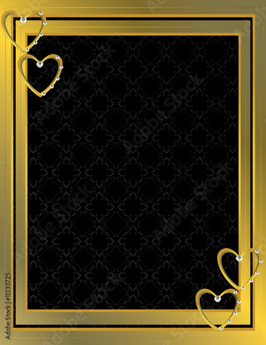 Gold heart patterned background 7