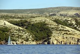 Landscape Croatian island Pag seen from the Adriatic sea poster