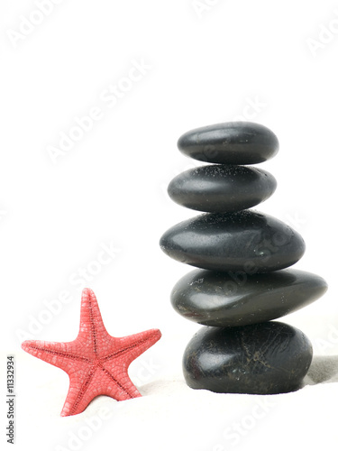 Starfish and black pebbles on sand