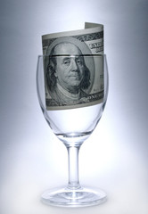 glass with dollar