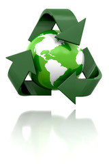 Globe with recycling icon