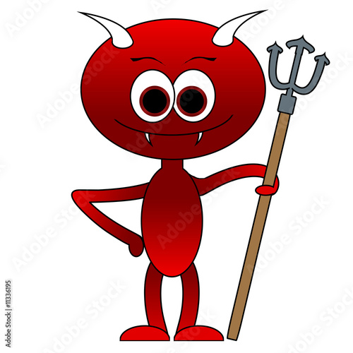 Cute Little Devil Cartoon - Isolated On White