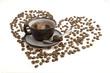 Dark cup of morning coffee