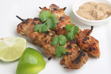 Thai Chicken Satays with peanut dip and lime