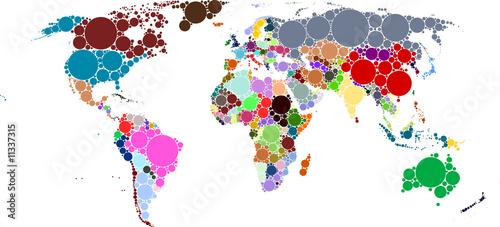 World Map Circles Countries