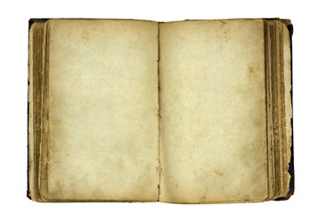 Open old blank book with clipping path.