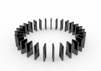 An isolated black domino blocks chain white background