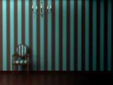 Minimalist interior visualisation featuring a chandelier poster