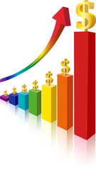 finance stat - money sign multicolor bar diagram