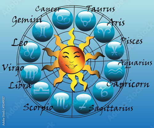 Horoscope symbols and shiny yellow sun