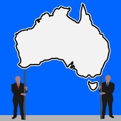 men with Australia map sign