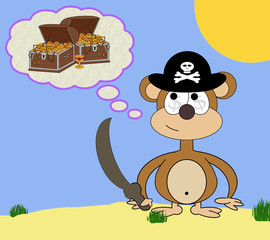 Greedy Pirate Monkey Cartoon Dream Scene