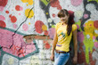 girl on graffiti background