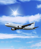 airliner: aircraft in the blue sky poster
