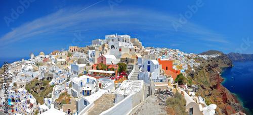 Panoramic view of Oia village on Santorini island, Greece