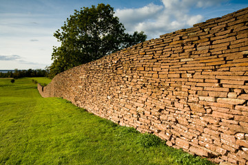 Stone wall on a golf course