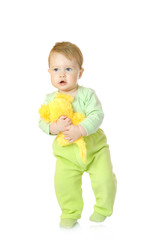 Small baby with toy mouse isolated