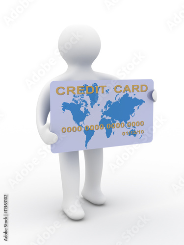 businessman with a credit card on a white background. 3D image