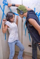 Urban rapper intimidating girl
