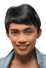 Portrait of Asian young man with emo makeup